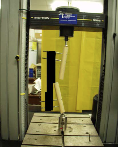 "THE –DISGUISED –APPARATUS COMMONLY USED IN THE UK WITH THE SAME SET UP AS SARAFIX. THE FRACTURE LOST ITS STABILITY WELL BELOW THE WEIGHT LOAD THAT SARAFIX COULD TOLERATE AND THE ""FRACTURE"" IS SEEN TO BUCKLE."